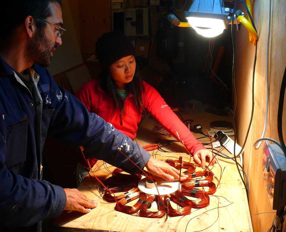 Kostas and Yanti wiring up the coils