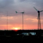sunset over the folkecenter's wind test field